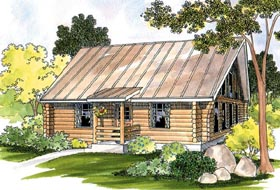 Cabin Log Ranch House Plan 69498 Elevation