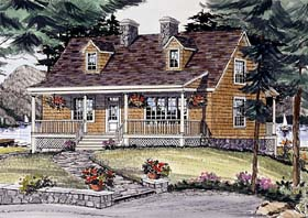 House Plan 69506 | Cape Cod Country Style Plan with 1704 Sq Ft, 3 Bedrooms, 3 Bathrooms, 2 Car Garage Elevation