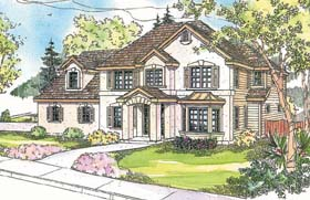 European House Plan 69605 with 4 Beds, 4 Baths, 3 Car Garage Elevation