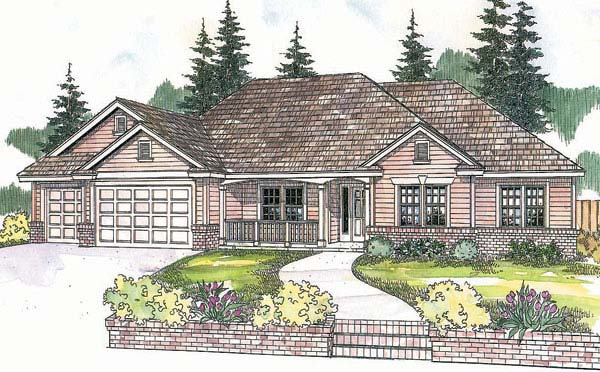 Traditional House Plan 69607 with 4 Beds, 3 Baths, 3 Car Garage Front Elevation