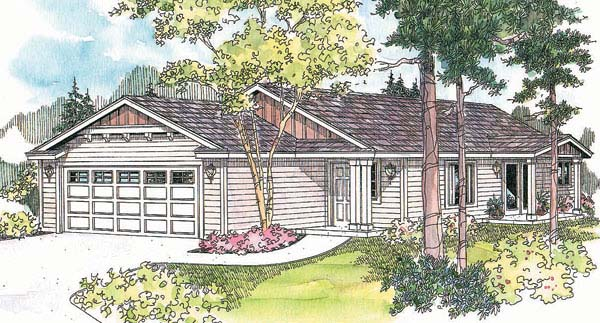 One-Story Ranch Elevation of Plan 69608