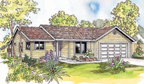 House Plan 69609 | Ranch Style Plan with 1398 Sq Ft, 3 Bedrooms, 2 Bathrooms, 2 Car Garage Elevation