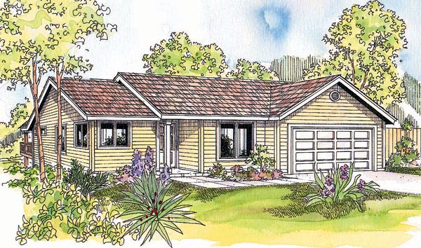 Ranch House Plan 69609 with 3 Beds, 2 Baths, 2 Car Garage Elevation