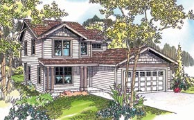 House Plan 69616   Contemporary Style Plan with 1672 Sq Ft, 4 Bedrooms, 3 Bathrooms, 2 Car Garage Elevation