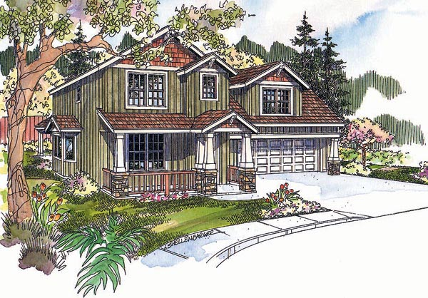 Bungalow, Craftsman House Plan 69629 with 3 Beds, 3 Baths, 2 Car Garage Elevation