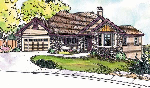 House Plan 69634 | Traditional Style Plan with 2744 Sq Ft, 3 Bedrooms, 2 Bathrooms, 2 Car Garage Elevation