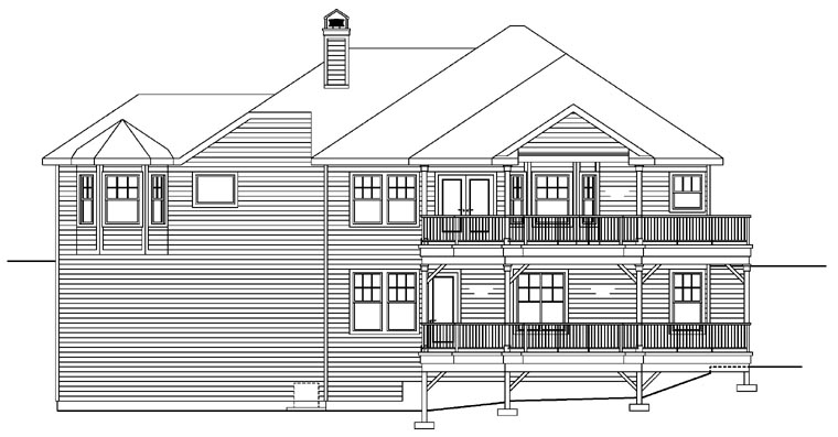 House Plan 69634 | Traditional Style Plan with 2744 Sq Ft, 3 Bedrooms, 2 Bathrooms, 2 Car Garage Rear Elevation
