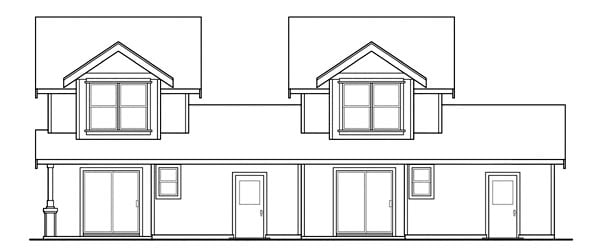 Bungalow Country Multi-Family Plan 69642 Rear Elevation