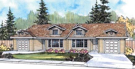 Ranch Multi-Family Plan 69644 Elevation