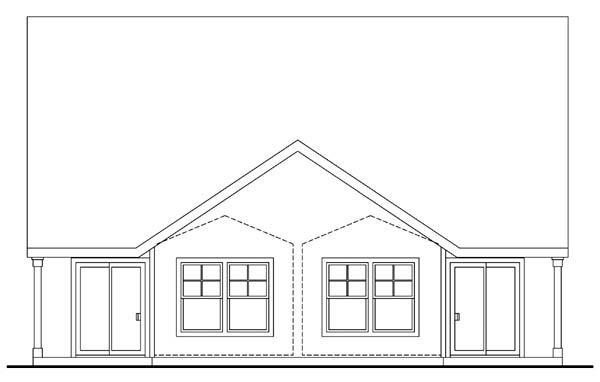 Craftsman Multi-Family Plan 69645 Rear Elevation