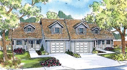 Multi-Family Plan 69646 | Traditional Style Plan with 3056 Sq Ft, 6 Bedrooms, 4 Bathrooms, 2 Car Garage Elevation