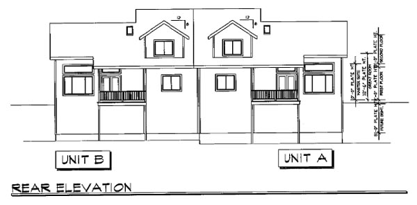 Traditional Multi-Family Plan 69646 Rear Elevation