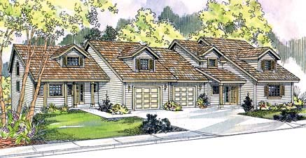 Traditional Multi-Family Plan 69647 Elevation
