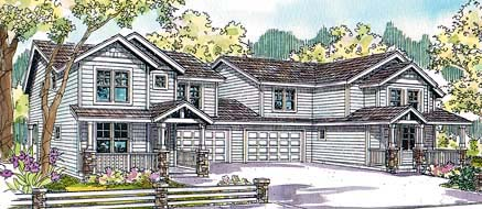 Contemporary Multi-Family Plan 69651 with 8 Beds, 6 Baths, 4 Car Garage Elevation