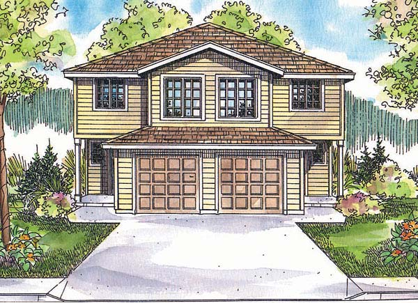 Narrow Lot, Traditional Multi-Family Plan 69653 with 8 Beds, 6 Baths, 2 Car Garage Elevation