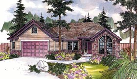 European House Plan 69656 with 3 Beds, 2 Baths Elevation