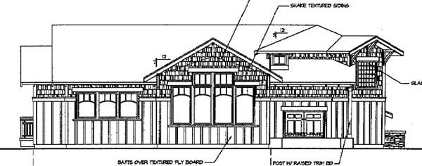 Craftsman House Plan 69658 with 3 Beds, 2.5 Baths, 2 Car Garage Rear Elevation