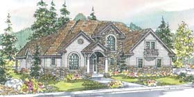 European House Plan 69664 with 3 Beds, 2.5 Baths, 3 Car Garage Elevation