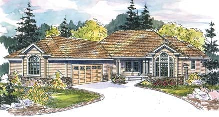 House Plan 69672 | European Style Plan with 3026 Sq Ft, 3 Bedrooms, 3 Bathrooms, 2 Car Garage Elevation