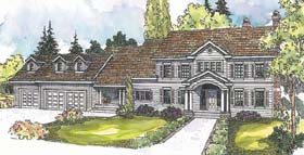 Colonial House Plan 69675 with 4 Beds, 5 Baths, 3 Car Garage Elevation