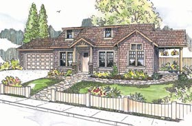 Craftsman House Plan 69694 with 2 Beds, 1 Baths, 2 Car Garage Elevation