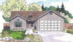 House Plan 69697 | Ranch Style House Plan with 1916 Sq Ft, 3 Bed, 2.5 Bath, 2 Car Garage Elevation