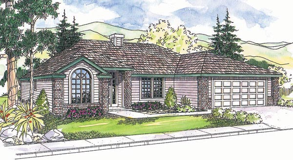 House Plan 69698 | Traditional Style Plan with 1564 Sq Ft, 3 Bedrooms, 2 Bathrooms, 2 Car Garage Elevation