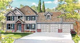 House Plan 69711 | Colonial Traditional Style Plan with 2803 Sq Ft, 5 Bedrooms, 2.5 Bathrooms, 3 Car Garage Elevation