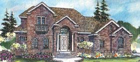 European House Plan 69721 with 3 Beds, 3.5 Baths, 3 Car Garage Elevation