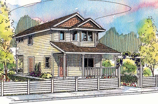 Country, Narrow Lot House Plan 69726 with 2 Beds, 2.5 Baths Elevation