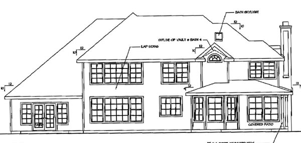 European House Plan 69737 Rear Elevation