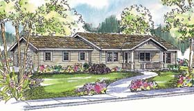Ranch House Plan 69742 with 3 Beds, 2 Baths, 2 Car Garage Elevation