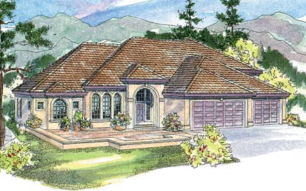 European , Mediterranean House Plan 69743 with 3 Beds, 3.5 Baths, 3 Car Garage Elevation