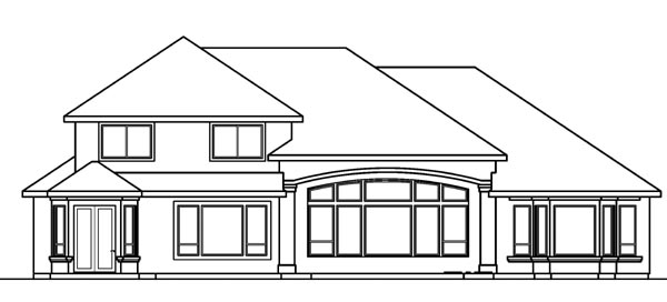 European Mediterranean Rear Elevation of Plan 69743