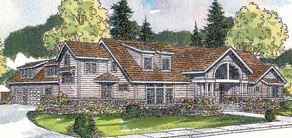 Traditional House Plan 69744 with 3 Beds , 3 Baths , 3 Car Garage Elevation
