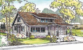 House Plan 69747 | Bungalow Ranch Style Plan with 1822 Sq Ft, 2 Bedrooms, 2 Bathrooms, 1 Car Garage Elevation