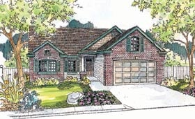 House Plan 69749   Ranch Style Plan with 1774 Sq Ft, 2 Bedrooms, 2 Bathrooms, 2 Car Garage Elevation