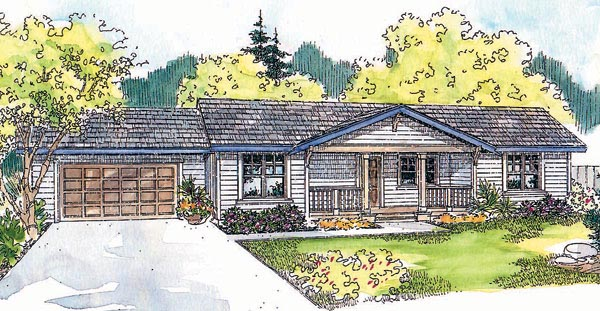 One-Story, Ranch House Plan 69751 with 3 Beds, 2 Baths, 2 Car Garage Elevation