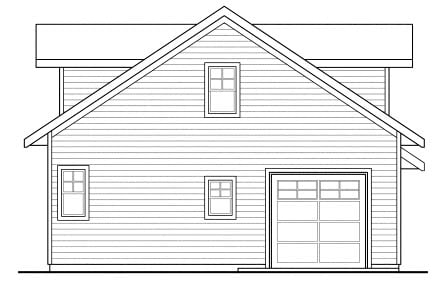 Traditional , Rear Elevation of Plan 69765