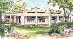 House Plan 69773 | Mediterranean, Santa, Fe, Southwest Style House Plan with 2431 Sq Ft, 3 Bed, 3 Bath, 3 Car Garage Elevation