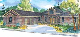 House Plan 69774   European Ranch Traditional Style Plan with 3026 Sq Ft, 3 Bedrooms, 3 Bathrooms, 3 Car Garage Elevation