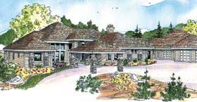 House Plan 69776 | Craftsman European Florida Ranch Style Plan with 3412 Sq Ft, 3 Bedrooms, 4 Bathrooms, 3 Car Garage Elevation