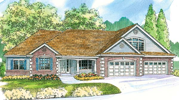 Contemporary Country Craftsman Traditional Elevation of Plan 69778