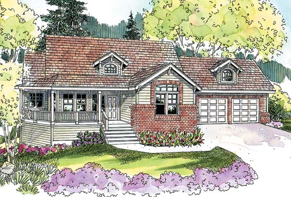 Country, Craftsman, Traditional, House Plan 69780 with 3 Beds, 3 Baths, 2 Car Garage Elevation