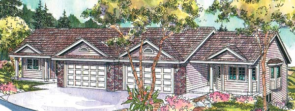 Contemporary , Country Multi-Family Plan 69782 with 6 Beds, 4 Baths, 4 Car Garage Elevation