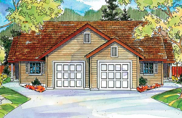 Contemporary, Ranch Multi-Family Plan 69783 with 6 Beds, 4 Baths, 2 Car Garage Elevation