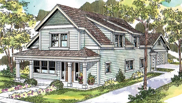 Country, Farmhouse, Narrow Lot House Plan 69786 with 3 Beds, 3 Baths, 2 Car Garage Elevation