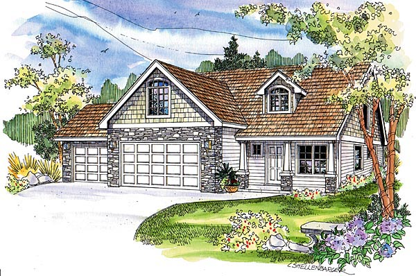 European , Craftsman , Country House Plan 69787 with 3 Beds, 3 Baths, 3 Car Garage Elevation