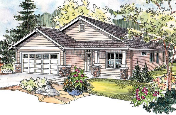 Country Craftsman One-Story Ranch Elevation of Plan 69794