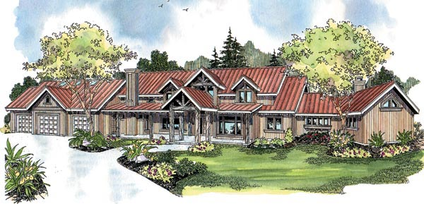 Contemporary Country Craftsman House Plan 69795 Elevation